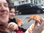 "We were getting bored when some guys went past and said ""Would you like some pizza?"" We said yes, shared it with some other fans who were queueing and ate it."