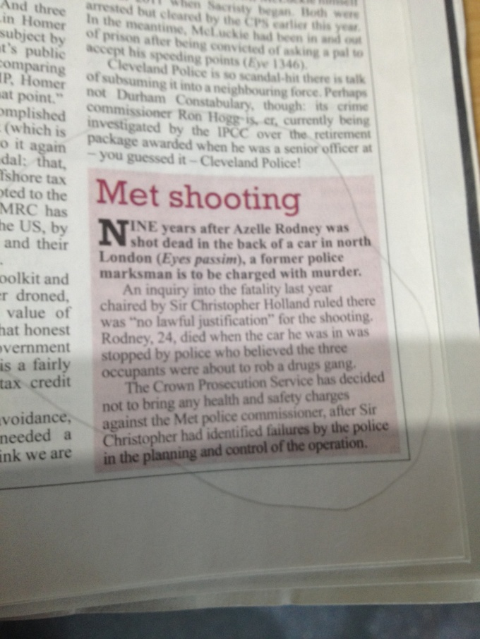 Private Eye 1372 Met Shooting