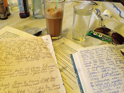 Still my favourite still of  mid-work mess. The piece I was working on, a 'Danger Days' fan fiction, never got finished.