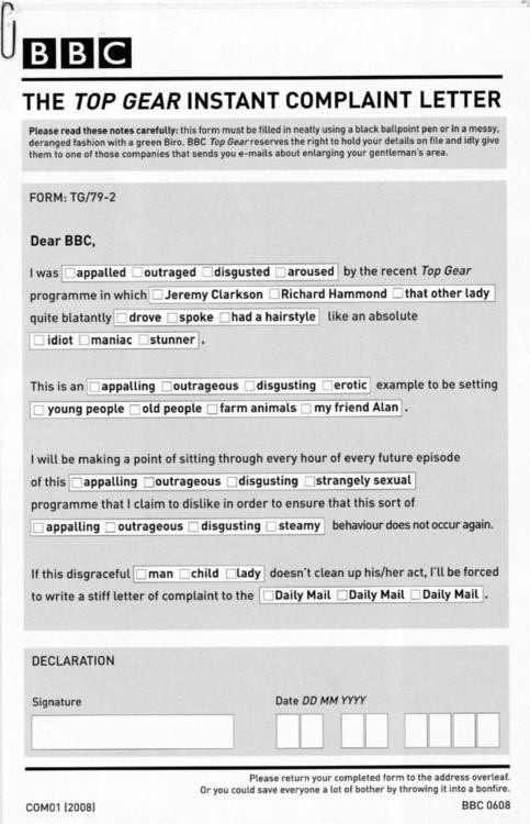 Top Gear complaints form dontkillthevibe.t