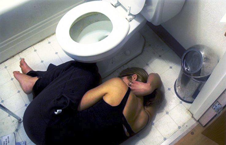 lying on the bathroom floor