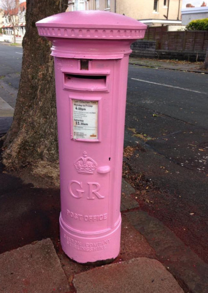The Visitor Pink Postbox. Photo is by Jean Nelson.