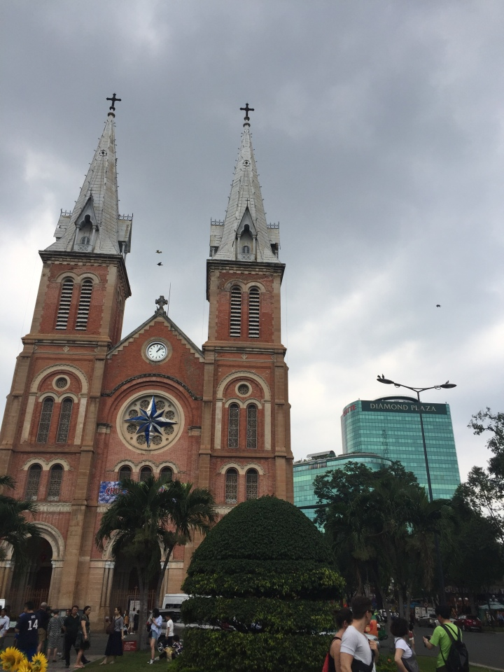 Notre-Dame Cathedral Basilica of Saigon plus Diamond Plaza, Ho Chi Minh City, Vietnam