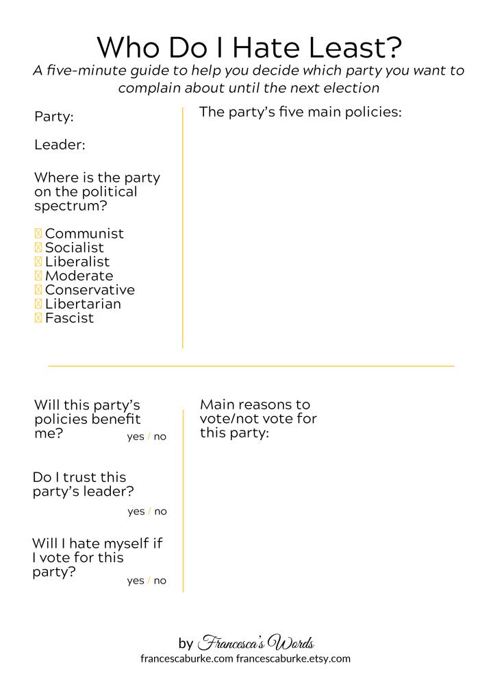 Ho Do I Hate Least Political Party Comparison