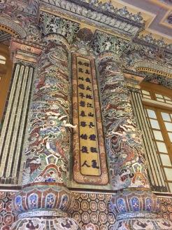 columns inside Khai Dinh Hue Vietnam