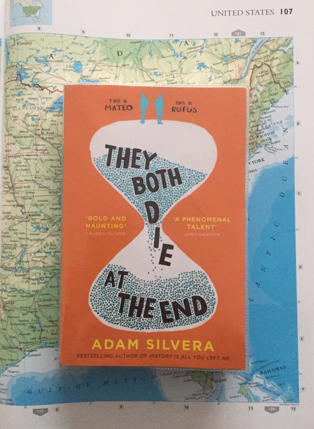 They Both Die at the End by Adam Silvera UK edition on a map background