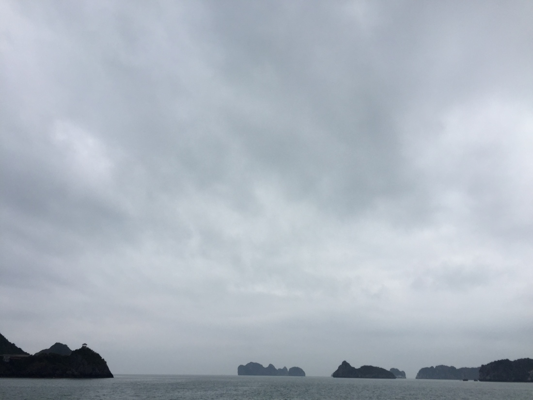 Ha Long Bay, Vietnam on a cloudy day