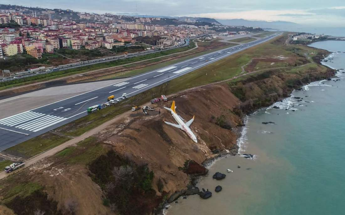 Plan skids off runway onto cliff, Trabzon Airport, Turkey