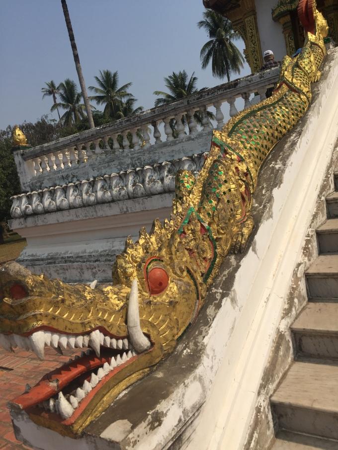 Luang Prabang Wat staircase golden dragon decoration