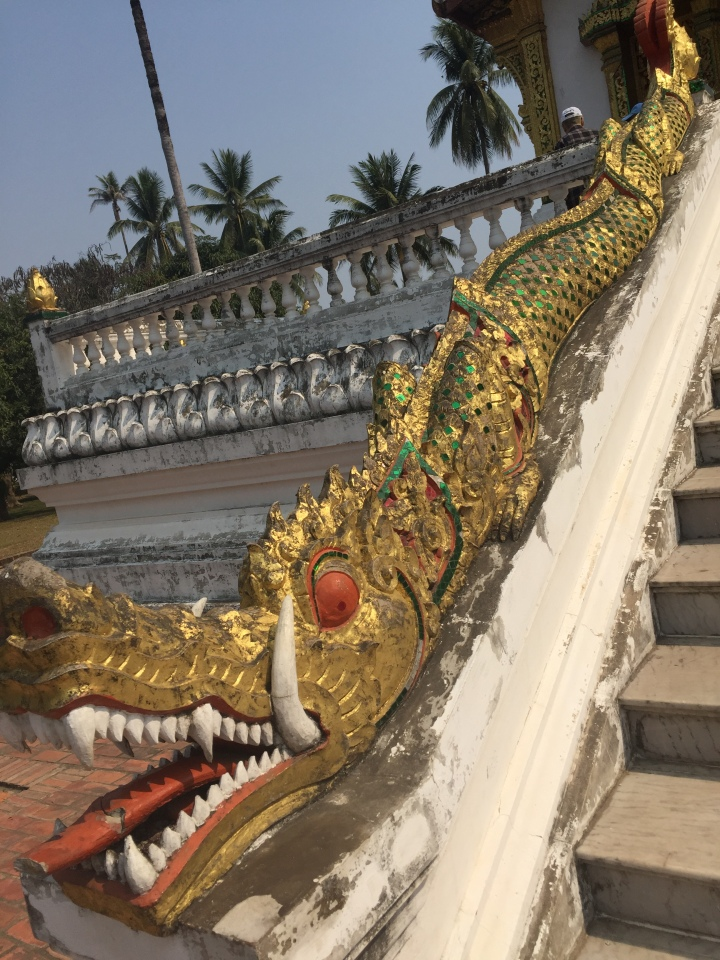 Luang Prabang Wat staircase golden dragon decoration