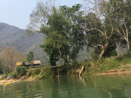 riverbank with bar Song River Vang Vieng