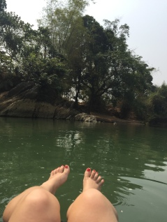 view from a tube on Song River Vang Vieng