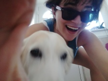 blurry dog with very happy human