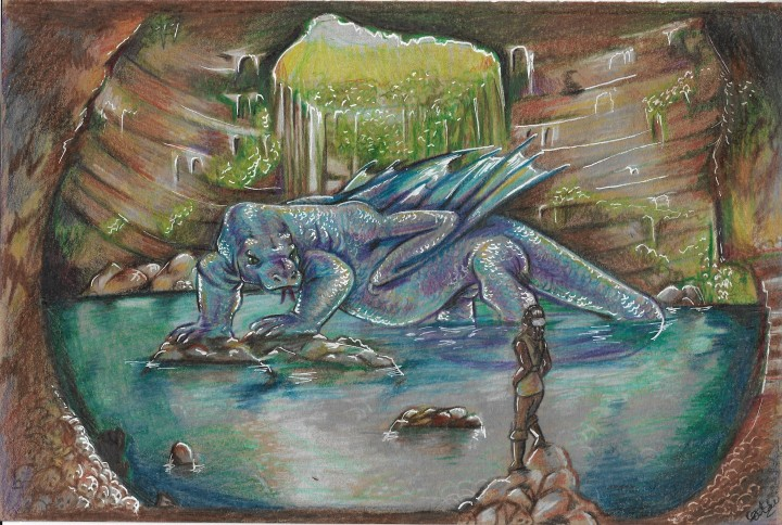 girl facing giant blue dragon in cave