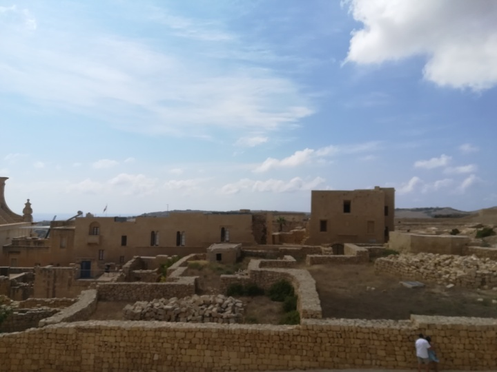 View over ruins at Gozo Citadel