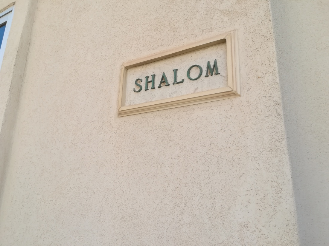 Door Sign Reading 'Shalom' in Sliema Malta