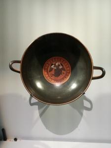 bowl depicting Eris goddess of Strife at British Museum exhibition Troy Myth & Reality