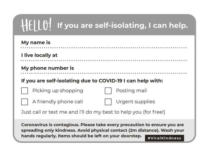 postcard with information for people to fill in in order to offer help during coronavirus outbreak