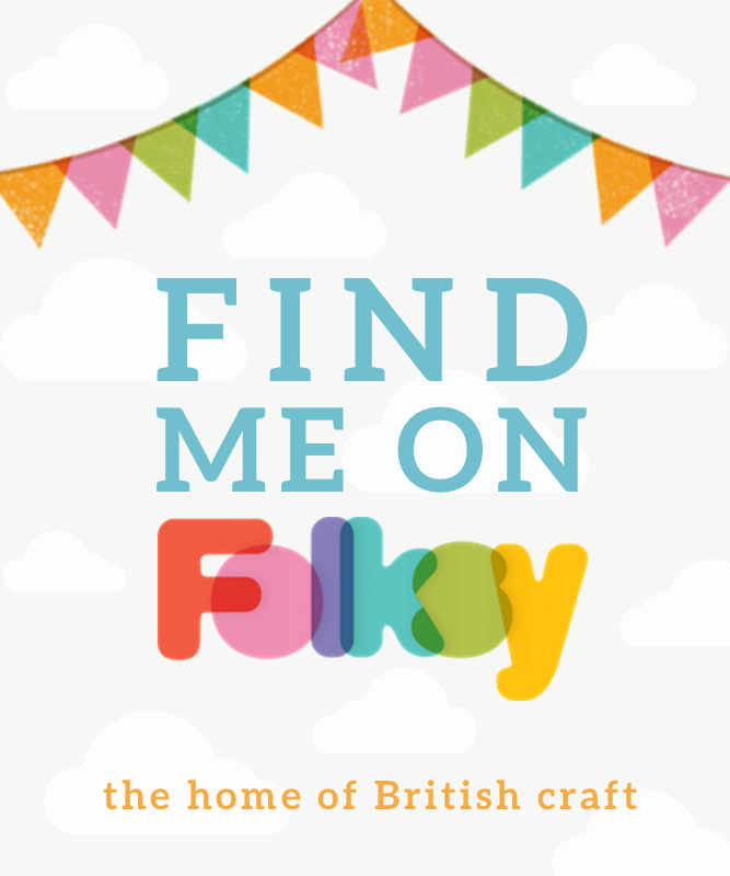 image reading 'Find me on Folksy the home of British craft' in bright colours, with a bunting graphic