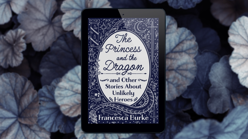 ereader mockup of The Princess and the Dragon and Other Stories About Unlikely Heroes, on a Lilly pad/leaf background