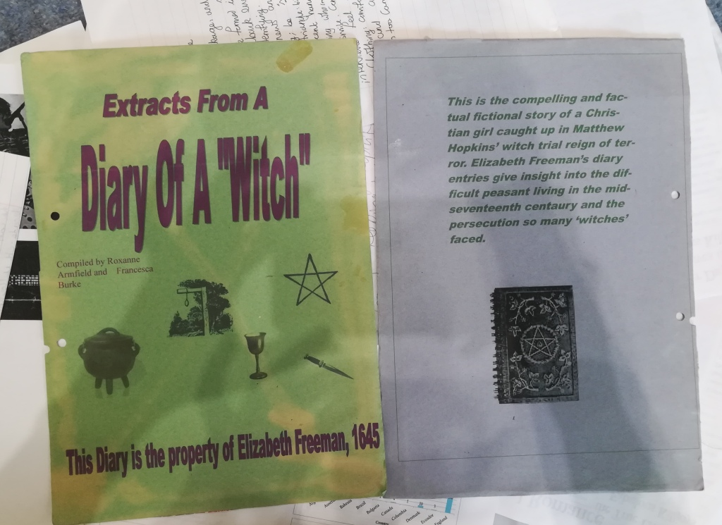 """ancient sugar paper called 'Extracts from a Diary of a """"Witch""""'"""