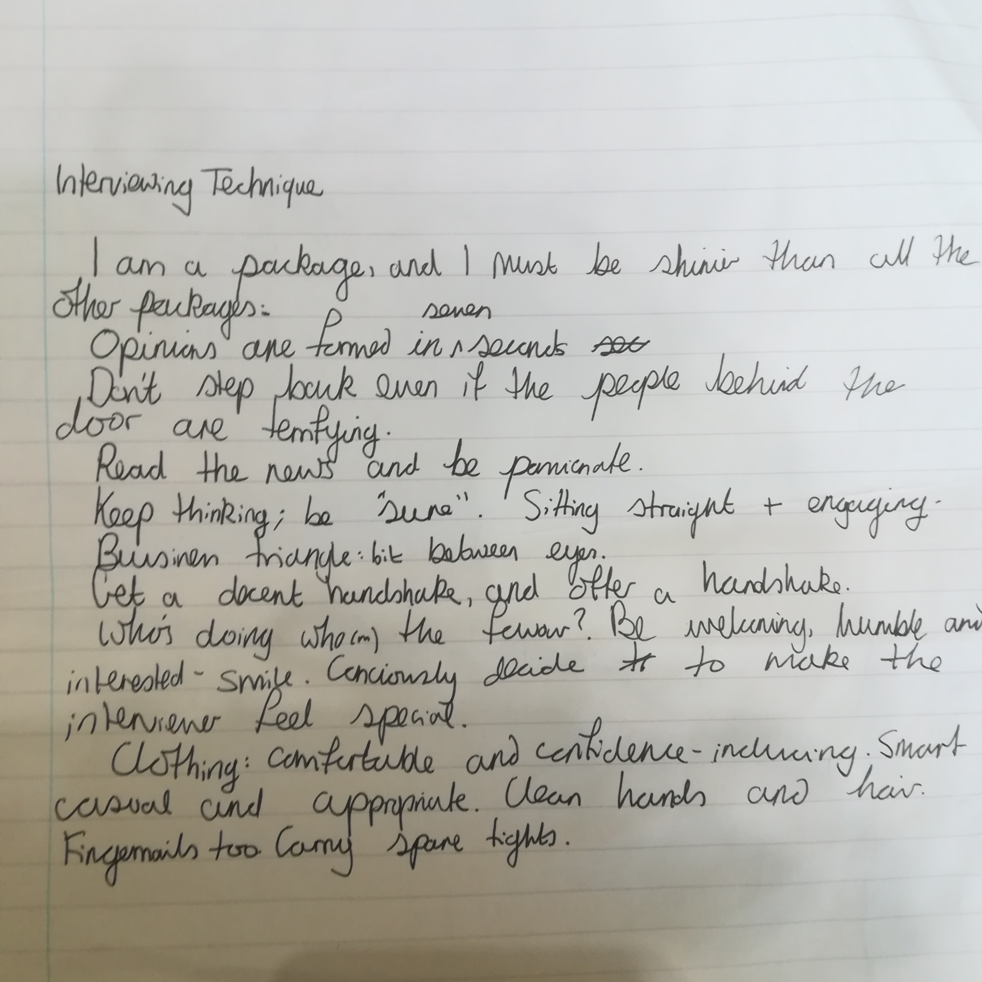 handwritten paper about interview technique, most of which is terrible advice