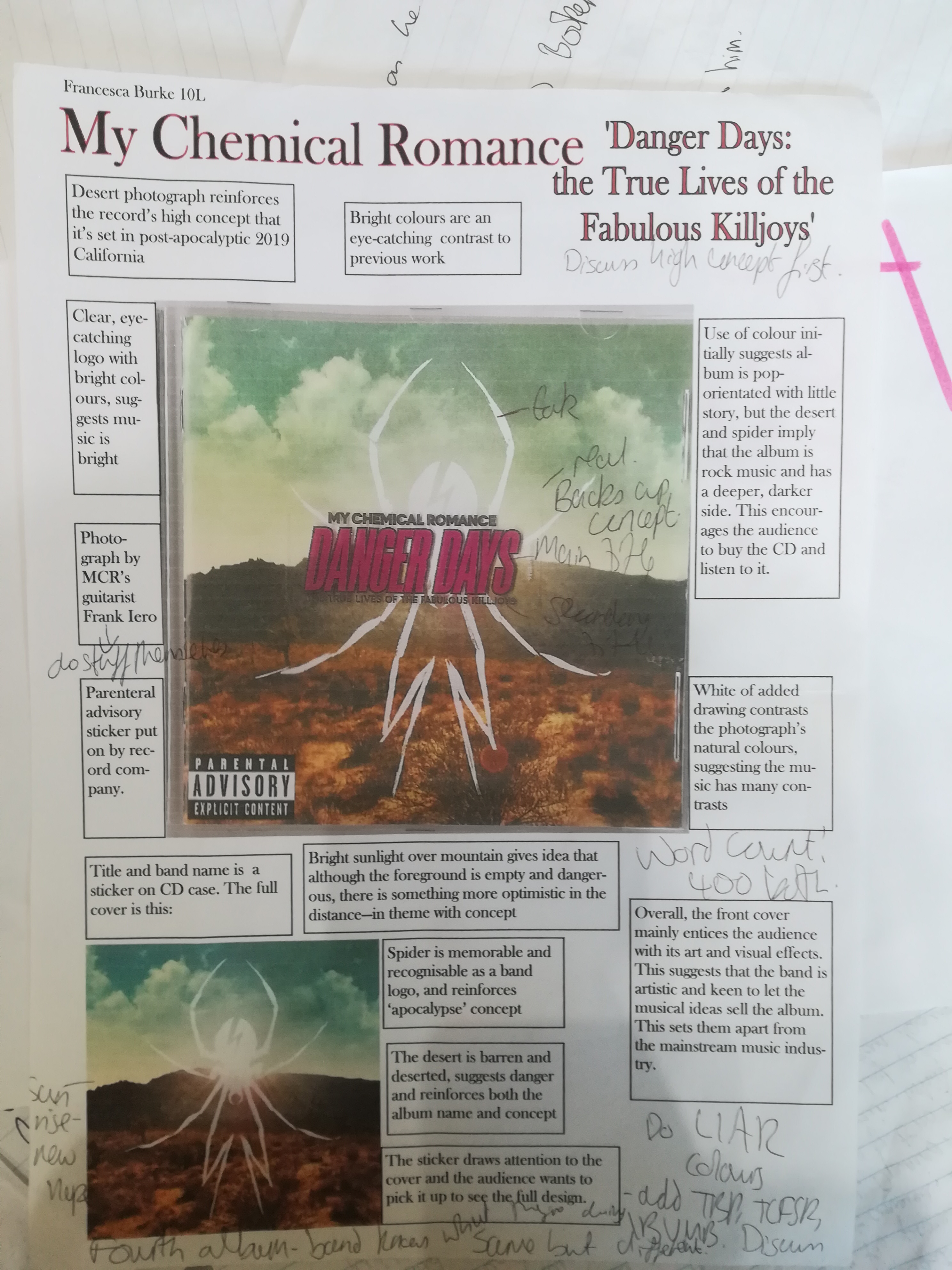 notes in text boxes around a cover of LIAR analysis and text around the cover of My Chemical Romance's album Danger Days: the True Lives of the Fabulous Killjoys'