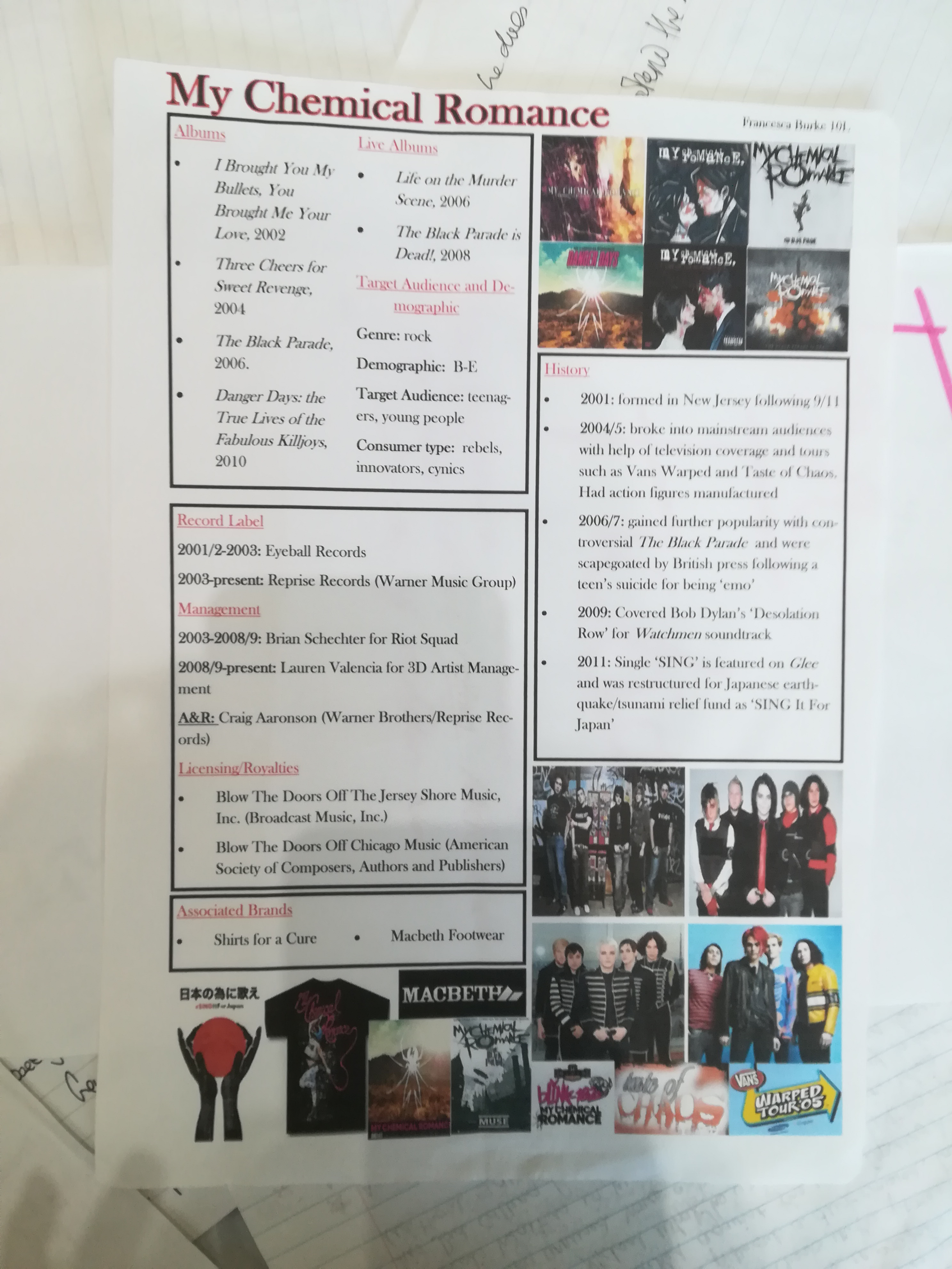 Photographs of My Chemical Romance members, merchandise and their album covers, and a list of their bibliography, labels, A&R and history up to 2011