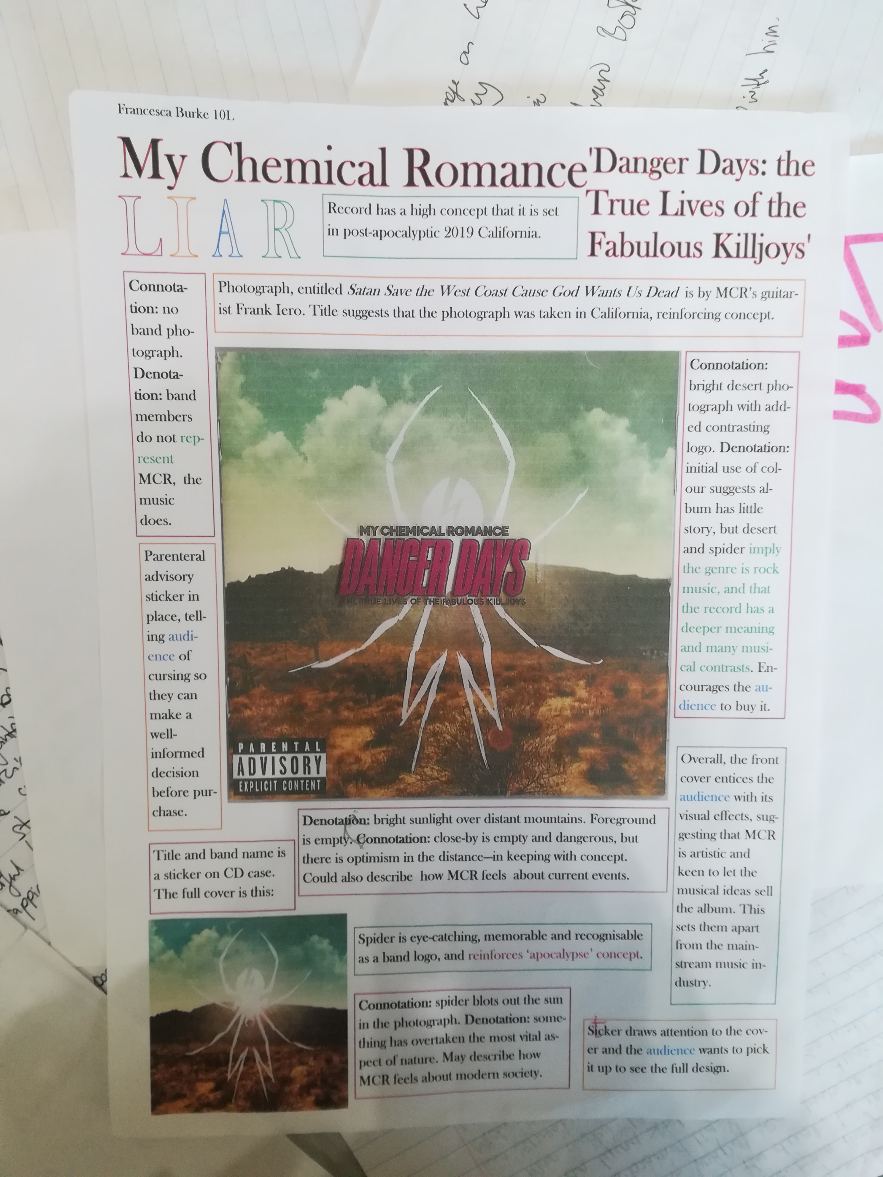 LIAR analysis and text around the cover of My Chemical Romance's album Danger Days: the True Lives of the Fabulous Killjoys'