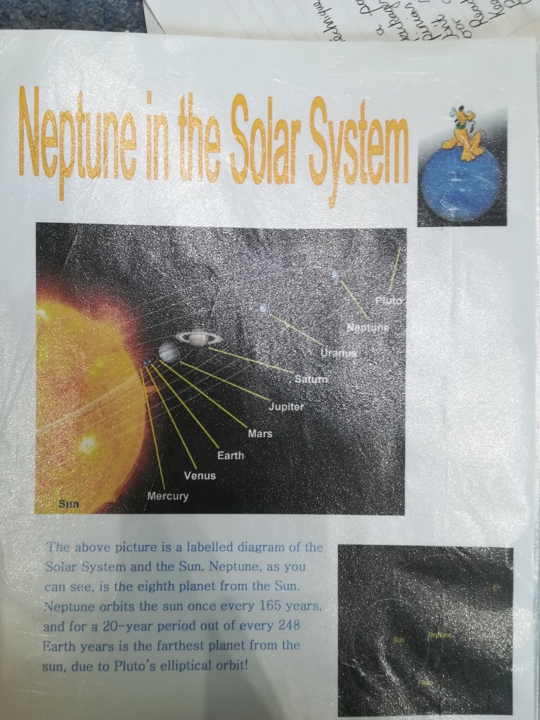 graphic of the solar system, including Pluto, with text about Neptune and a picture of the Disney dog on the planet