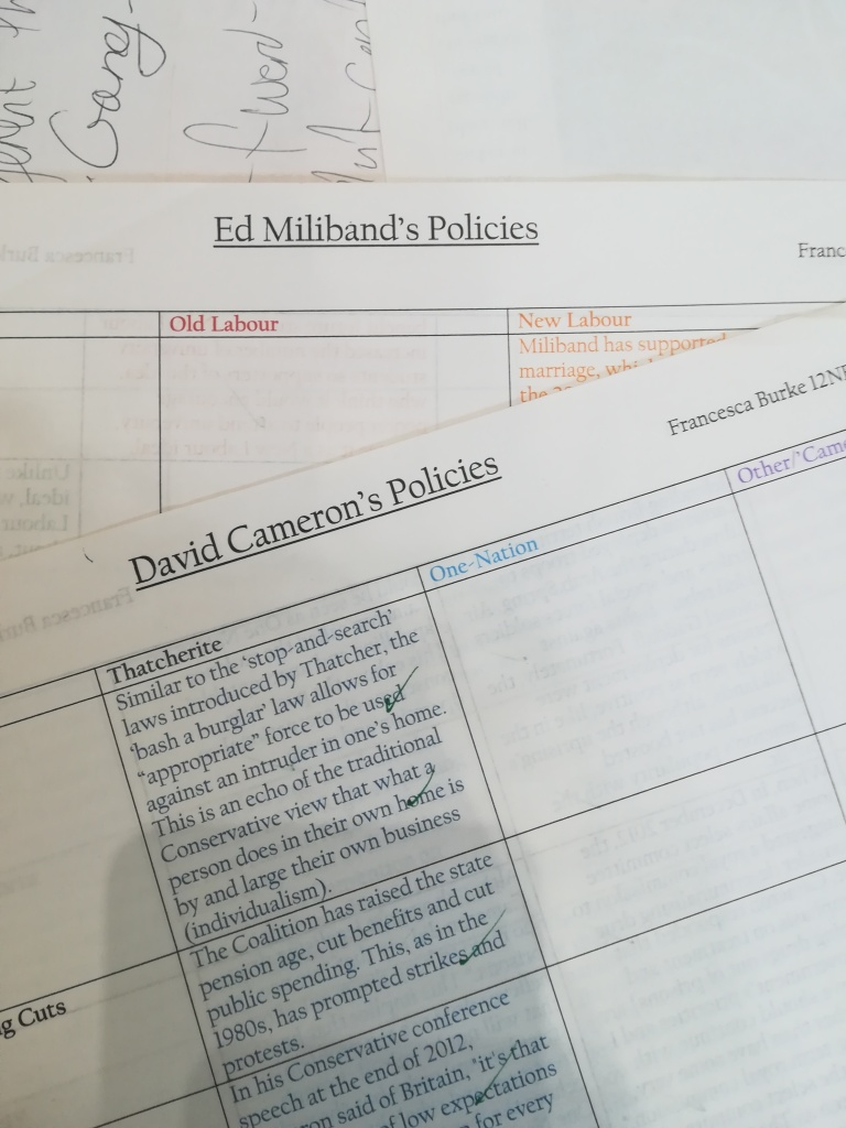photograph of paperwork and tables of information about Ed Miliband and David Cameron