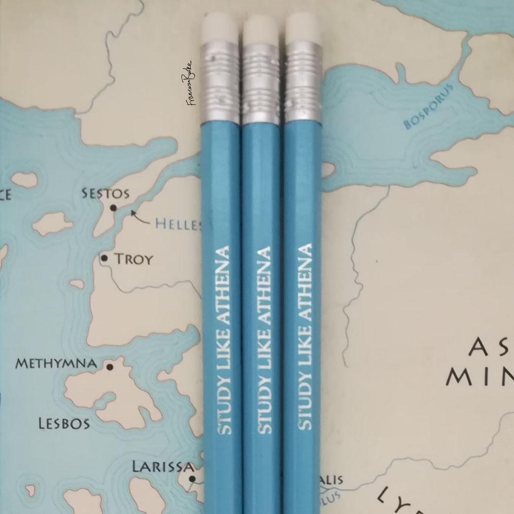 blue pencils with silver inscription reading 'STUDY LIKE ATHENA'