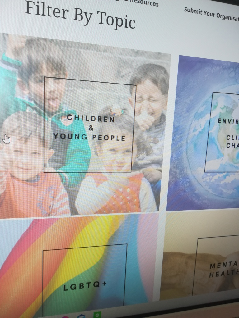 photograph of a webpage with squares showing photographs and words overlaid, including 'LGBTQ+', 'Children & Young People', 'Environment & Climate Change' and  'Mental Health'